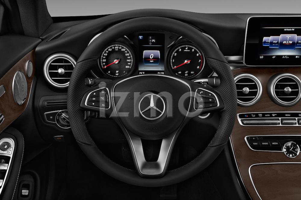 Car pictures of steering wheel view of a 2018 Mercedes Benz C-Class C-300 2 Door Convertible Steering Wheel
