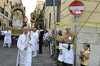 "Roma 21 Luglio 2012.Venerabile Arciconfraternita del SS.mo Sacramento e di Maria Ss. del Carmine in Trastevere a Roma fondata nell' anno 1539. I Solenni Festeggiamenti e la processione in onore della Madonna del Carmine detta ""de' Noantri"". The Solemn Celebrations and processions in honor of Madonna del Carmine said ""de 'Noantri"""