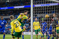Angus Gunn of Norwich City appears to block from his own defender Timm Klose of Norwich City during the Sky Bet Championship match between Cardiff City and Norwich City at the Cardiff City Stadium, Cardiff, Wales on 1 December 2017. Photo by Mark  Hawkins / PRiME Media Images.