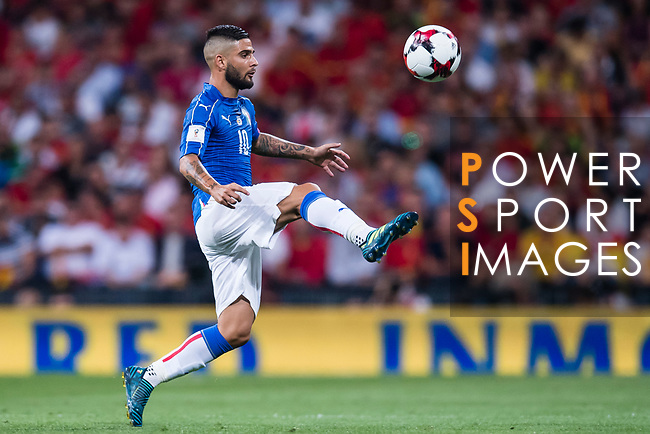 Lorenzo Insigne of Italy in action during their 2018 FIFA World Cup Russia Final Qualification Round 1 Group G match between Spain and Italy on 02 September 2017, at Santiago Bernabeu Stadium, in Madrid, Spain. Photo by Diego Gonzalez / Power Sport Images