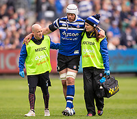 Bath Rugby's Dave Attwood receives treatment<br /> <br /> Photographer Bob Bradford/CameraSport<br /> <br /> Premiership Rugby Cup - Bath Rugby v Wasps - Sunday 5th May 2019 - The Recreation Ground - Bath<br /> <br /> World Copyright © 2018 CameraSport. All rights reserved. 43 Linden Ave. Countesthorpe. Leicester. England. LE8 5PG - Tel: +44 (0) 116 277 4147 - admin@camerasport.com - www.camerasport.com
