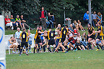 COLOGNE, GERMANY, SEPTEMBER 07: Rugby match between ASV Koeln (red/black) und RC Aachen (yellow/black) in the Bundesliga West on September 07, 2013 in Cologne, Germany. Final score 24-15. (Photo by Dirk Markgraf/www.265-images.com)