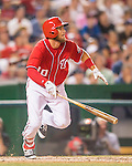23 July 2016: Washington Nationals shortstop Stephen Drew watches the trajectory of his pinch-hit, walk-off triple, scoring Anthony Rendon in the bottom of the 9th inning, as the Nationals take the second game of their 3-game series 3-2 against the San Diego Padres at Nationals Park in Washington, DC. The win ties their series at one game apiece. Mandatory Credit: Ed Wolfstein Photo *** RAW (NEF) Image File Available ***