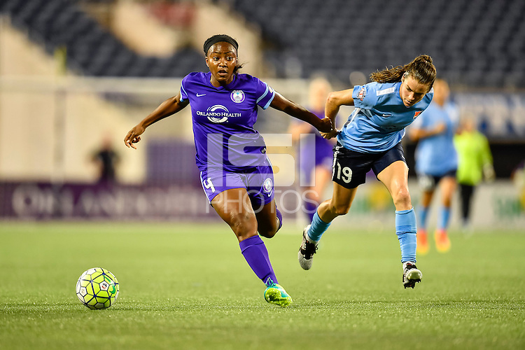 Orlando, FL - Saturday September 10, 2016: Jamia Fields, Kelley O'Hara during a regular season National Women's Soccer League (NWSL) match between the Orlando Pride and Sky Blue FC at Camping World Stadium.