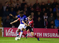 Lincoln City's Michael O'Connor battles with Everton's Alex Iwobi<br /> <br /> Photographer Andrew Vaughan/CameraSport<br /> <br /> The Carabao Cup Second Round - Lincoln City v Everton - Wednesday 28th August 2019 - Sincil Bank - Lincoln<br />  <br /> World Copyright © 2019 CameraSport. All rights reserved. 43 Linden Ave. Countesthorpe. Leicester. England. LE8 5PG - Tel: +44 (0) 116 277 4147 - admin@camerasport.com - www.camerasport.com