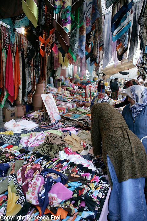 Headscarfs for sale in a market, Istanbul, Turkey