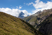 The Matterhorn looms over the Mattertal, along the Europaweg, Switzerland.