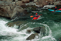 Kayaking on the Wenatchee River. Leavenworth, Washington.