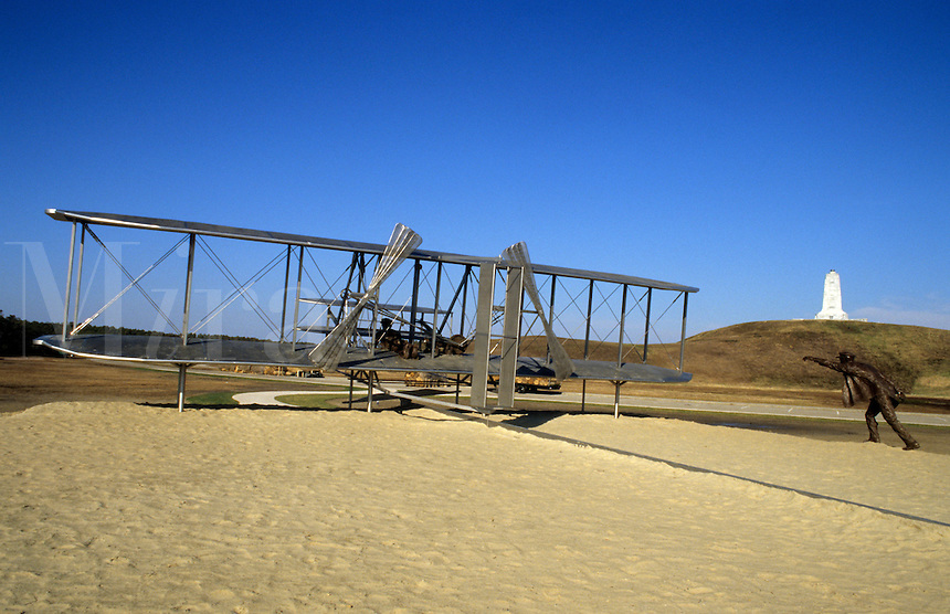 Aviation Pioneer  Wright Brothers Kitty Hawk statue celebrating 100 year of flight. Outer Banks,  North Carolina, USA