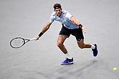3rd November 2017, Paris, France; Rolex Masters tennis tournament;  Juan Martin Del Potro (Arg) in his game against John Isner (usa)