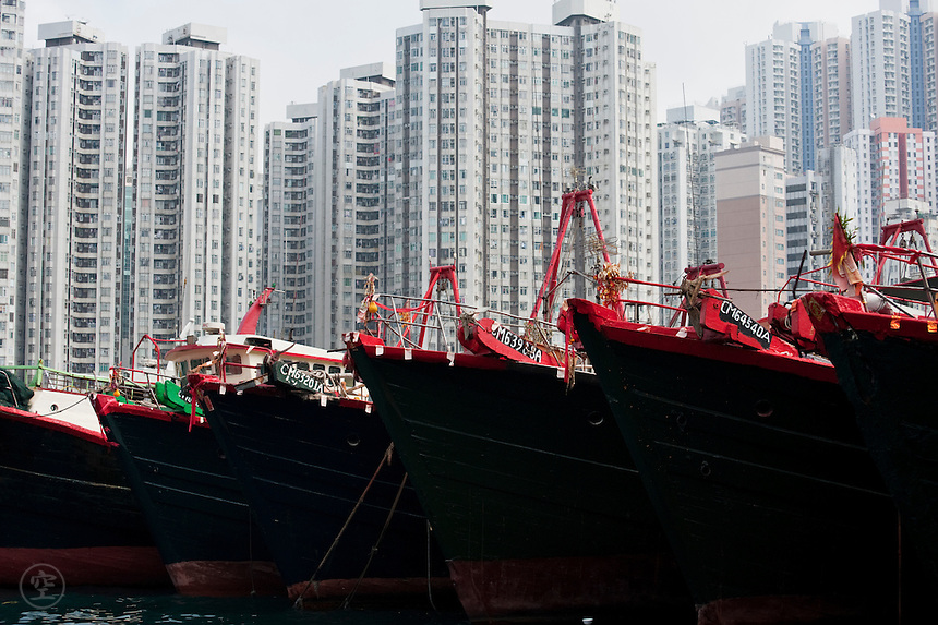 Boats and buildings around the Aberdeen Harbour, Hong Kong