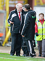 Aberdeen manager  Craig Brown with fourth official Stevie O'Reilly at the end of the game   ...