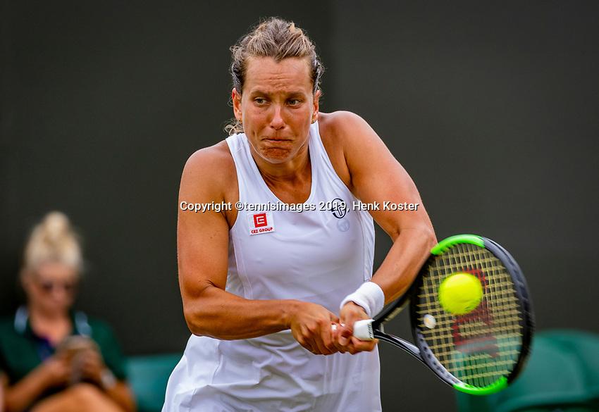 London, England, 6 July, 2019, Tennis,  Wimbledon, Womans single: Barbora Strycova  (CZE)<br /> Photo: Henk Koster/tennisimages.com
