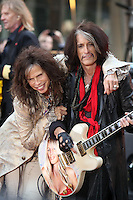 NEW YORK, NY - NOVEMBER 2: Steven Tyler and Joe Perry pictured as Aerosmith perform on NBC's Today Show at Rockefeller Center in New York City. November 2, 2012. Credit: RW/MediaPunch Inc.