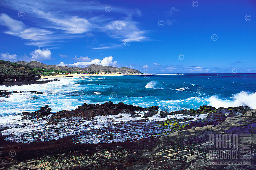 View of Sandy Beach from Blowhole lookout, Oahu