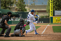 Los Angeles Dodger Justin Turner (31) on rehab assignment playing for the Rancho Cucamonga Quakes at bat against the Visalia Rawhide at LoanMart Field on May 13, 2018 in Rancho Cucamonga, California. The Quakes defeated the Rawhide 3-2.  (Donn Parris/Four Seam Images)