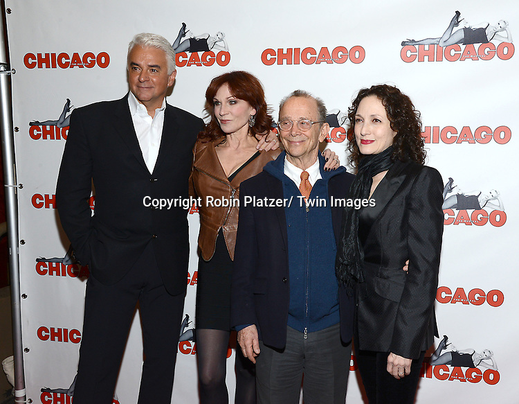 """John O'Hurley, Joel Grey, Bebe Neuwirth and Marilu Henner attends """"Chicago""""  becoming the 2nd Longest Running Show on Broadway at performance 7486 on November 23, 2014 at the Ambassodor Theatre in New York City."""