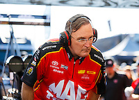 Feb 12, 2017; Pomona, CA, USA; NHRA top fuel driver Doug Kalitta during the Winternationals at Auto Club Raceway at Pomona. Mandatory Credit: Mark J. Rebilas-USA TODAY Sports