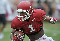 NWA Democrat-Gazette/MICHAEL WOODS &bull; @NWAMICHAELW<br /> University of Arkansas receiver Jared Cornelius runs drills during practice Saturday August 22, 2015 at Razorback Stadium in Fayetteville.