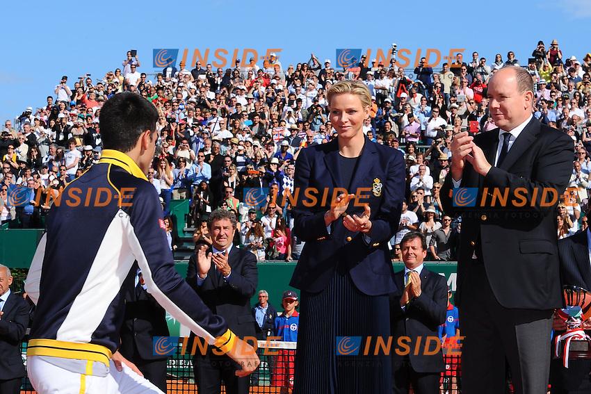 Novak Djokovic (Ser), rafael Nadal, SAS prince Albert de Monaco, charlene wittstock  .Monaco 21/4/2013 Principato di Monaco.Finale Torneo Tennis Monte Carlo .Foto Panoramic / Insidefoto .ITALY ONLY