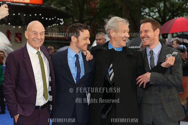 Sir Patrick Stewart, James McAvoy, Sir Ian McKellen, Michael Fassbender at X-Men: Days Of Future Past - UK film premiere<br /> London, England. 12/05/2014 Picture by: Henry Harris / Featureflash