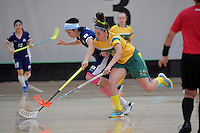 Japan&rsquo;s Yui Goto and Australia&rsquo;s Kiahni Abell  in action during the World Floorball Championships 2017 Qualification for Asia Oceania Region Final - Australia v Japan at ASB Sports Centre , Wellington, New Zealand on Sunday 5 February 2017.<br /> Photo by Masanori Udagawa<br /> www.photowellington.photoshelter.com.