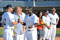 5 May 2012:  FIU's Pablo Bermudez (12) shakes hands with a teammate during the Senior Day Ceremony prior to the game.  The FIU Golden Panthers defeated the Middle Tennessee State University Blue Raiders, 12-6, at University Park Stadium in Miami, Florida.