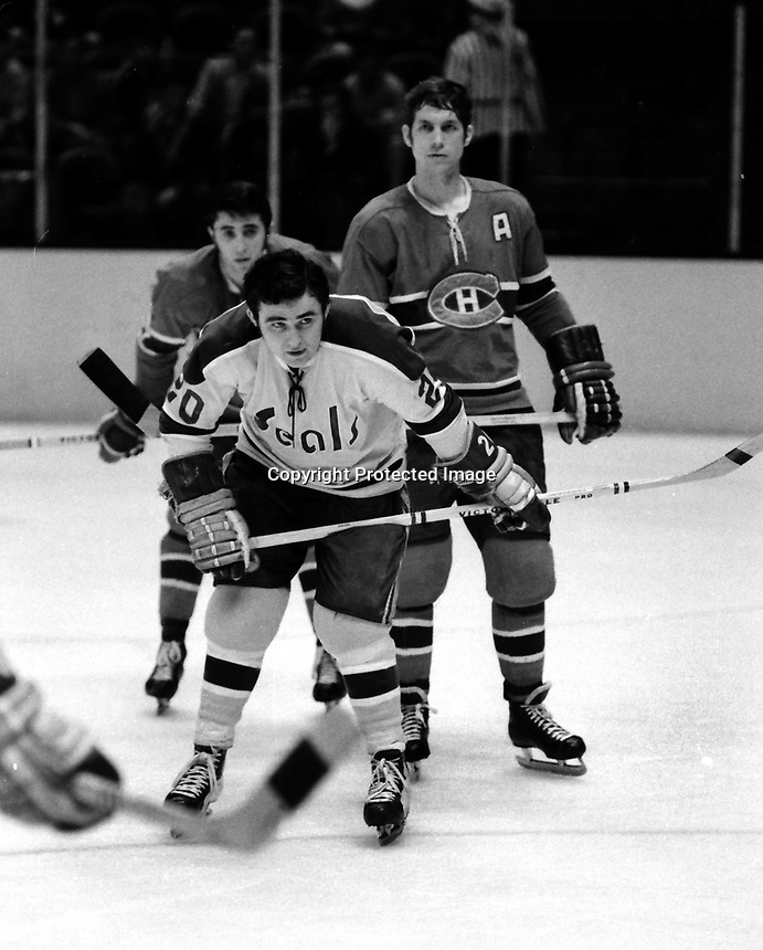 Seals Ernie Hickey against the Montreal Canadiens, (1971 photo.<br />