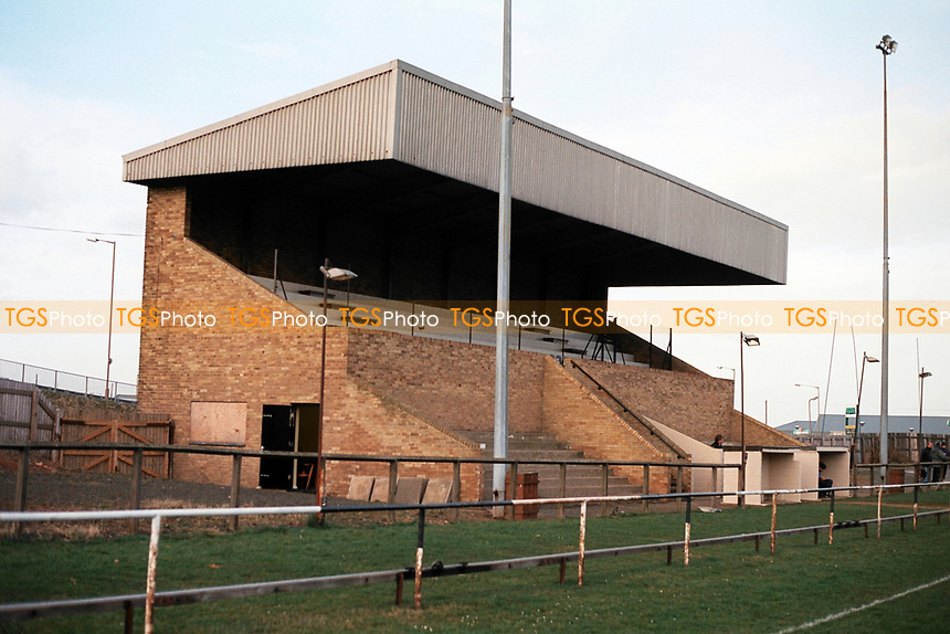 The main stand at Ashington FC Football Ground, Portland Park, Ashington, Northumberland, pictured on 31st March 1994
