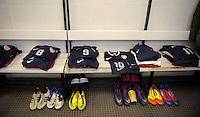 GENOVA, ITALY - February 29, 2012: Brand new jerseys for the USA men's national team in the locker room before their friendly match against Italy at the Stadium Luigi Ferraris in Genova, Italy.