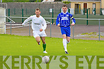 Peter McCarthy (Kerry) and Pat McGarry (Limk) race for the ball in the Semi-Final of the Oscar Traynor Cup in Mounthawk Soccer park, on Sunday.....