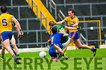 Kerry Stephen O'Brienscoring his goal against Roscommon depite the best efforts of keeper Darren O'Malley and Ronan Stack during their NFKL Div 1 clash in Fitzgerald Stadium on Sunday