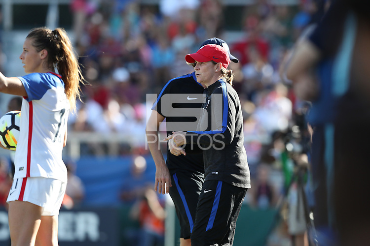 Cary, NC - Sunday October 22, 2017: Jill Ellis during an International friendly match between the Women's National teams of the United States (USA) and South Korea (KOR) at Sahlen's Stadium at WakeMed Soccer Park. The U.S. won the game 6-0.