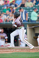 Rochester Red Wings second baseman Nick Gordon (1) follows through on a swing during a game against the Lehigh Valley IronPigs on June 29, 2018 at Frontier Field in Rochester, New York.  Lehigh Valley defeated Rochester 2-1.  (Mike Janes/Four Seam Images)