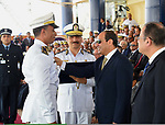Egyptian President Abdel Fattah al-Sisi attends a graduation ceremony of the police officers academy in Cairo, Egypt July 19, 2017. Photo by Egyptian President Office