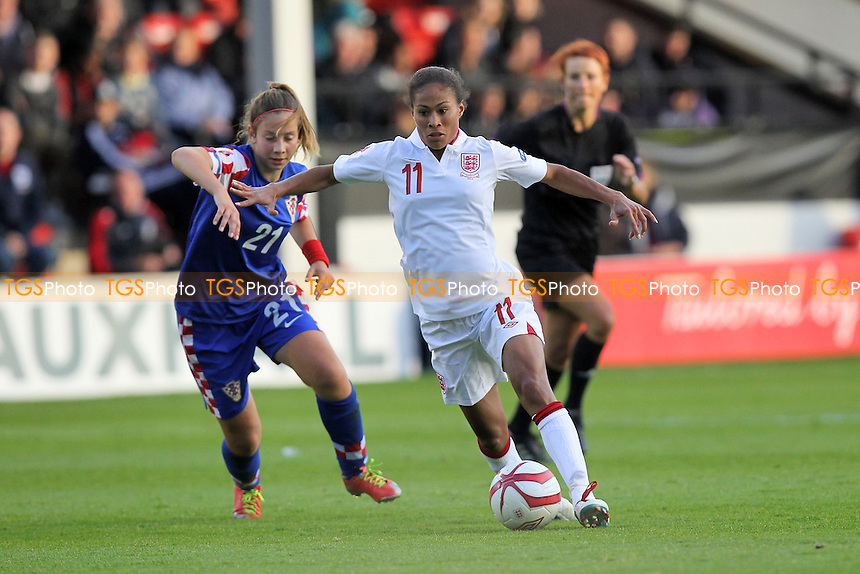Rachel Yankey of England and Gabrijela Gaiser of Croatia - England Women vs Croatia Women - UEFA Womens Euro 2013 Group 6 Qualifier Football at Banks's Stadium, Walsall - 19/09/12 - MANDATORY CREDIT: Gavin Ellis/TGSPHOTO - Self billing applies where appropriate - 0845 094 6026 - contact@tgsphoto.co.uk - NO UNPAID USE.