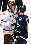 Ryan Fitzgerald (BC - 19), Evan Richardson (UConn - 19) - The Boston College Eagles defeated the visiting UConn Huskies 2-1 on Tuesday, January 24, 2017, at Kelley Rink in Conte Forum in Chestnut Hill, Massachusetts.