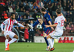 Lionel Andres Messi (c) of FC Barcelona is tackled by with Guillaume Gillet (r) of Olympiacos FC during the UEFA Champions League 2017-18 match between FC Barcelona and Olympiacos FC at Camp Nou on 18 October 2017 in Barcelona, Spain. Photo by Vicens Gimenez / Power Sport Images