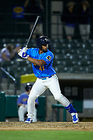 Wladimir Galindo (41) of the Myrtle Beach Pelicans at bat against the Winston-Salem Dash at TicketReturn.com Field on May 16, 2019 in Myrtle Beach, South Carolina. The Dash defeated the Pelicans 6-0. (Brian Westerholt/Four Seam Images)