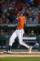 Logan Davidson (8) of the Clemson Tigers follows through on his swing against the Charlotte 49ers at BB&T BallPark on March 26, 2019 in Charlotte, North Carolina. The Tigers defeated the 49ers 8-5. (Brian Westerholt/Four Seam Images)