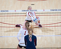 STANFORD, CA - December 1, 2018: Kate Formico, Jenna Gray at Maples Pavilion. The Stanford Cardinal defeated Loyola Marymount 25-20, 25-15, 25-17 in the second round of the NCAA tournament.