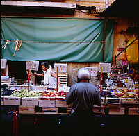 A scene from the Vucciria Market  in Palermo, Sicily in Italy taken in the summer of 2007.