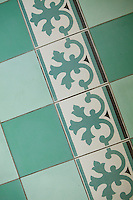 Italian floor tiles in the laundry of Nicole Bekdache's home, Grasse, France, 30 March 2012.