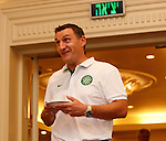 Tony Mowbray arrives for the Celtic's Europa League press conference in Tel Aviv