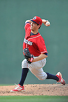 Starting pitcher Drew Anderson (28) of the Lakewood BlueClaws delivers a pitch in a game against the Greenville Drive on Sunday, June 26, 2016, at Fluor Field at the West End in Greenville, South Carolina. Greenville won, 2-1. (Tom Priddy/Four Seam Images)