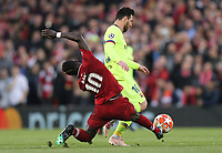 Barcelona's Lionel Messi is tackled by Liverpool's Sadio Mane<br /> <br /> Photographer Rich Linley/CameraSport<br /> <br /> UEFA Champions League Semi-Final 2nd Leg - Liverpool v Barcelona - Tuesday May 7th 2019 - Anfield - Liverpool<br />  <br /> World Copyright © 2018 CameraSport. All rights reserved. 43 Linden Ave. Countesthorpe. Leicester. England. LE8 5PG - Tel: +44 (0) 116 277 4147 - admin@camerasport.com - www.camerasport.com