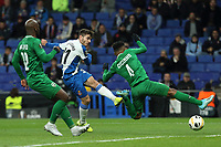 7th November 2019; RCDE Stadium, Barcelona, Catalonia, Spain; UEFA Europa League Football, Real Club Deportiu Espanyol de Barcelona versus PFC Ludogorets Razgrad;  Victor Campuzano of Espanyol shoots and scores for 4-0 in the 52nd minute - Editorial Use