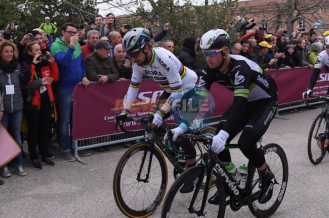 World Champion Peter Sagan (SVK) Bora-Hansgrohe and Mark Renshaw (AUS) Dimension Data at the start of the 2017 Strade Bianche running 175km from Siena to Siena, Tuscany, Italy 4th March 2017.<br /> Picture: La Presse/Gian Mattia D'Alberto | Newsfile<br /> <br /> <br /> All photos usage must carry mandatory copyright credit (&copy; Newsfile | La Presse)