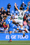Fayçal Fajr of Getafe CF (L) fights for the ball with Sergi Enrich Ametller of SD Eibar (R) during the La Liga 2017-18 match between Getafe CF and SD Eibar at Coliseum Alfonso Perez Stadium on 09 December 2017 in Getafe, Spain. Photo by Diego Souto / Power Sport Images