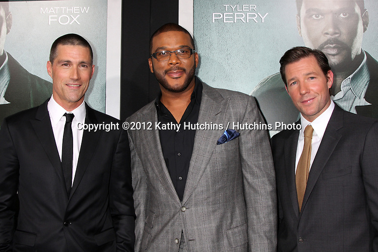 "LOS ANGELES - OCT 15:  Michael Fox, Tyler Perry, Edward Burns arrives at the ""Alex Cross"" Premiere at ArcLight Cinemas Cinerama Dome on October 15, 2012 in Los Angeles, CA"